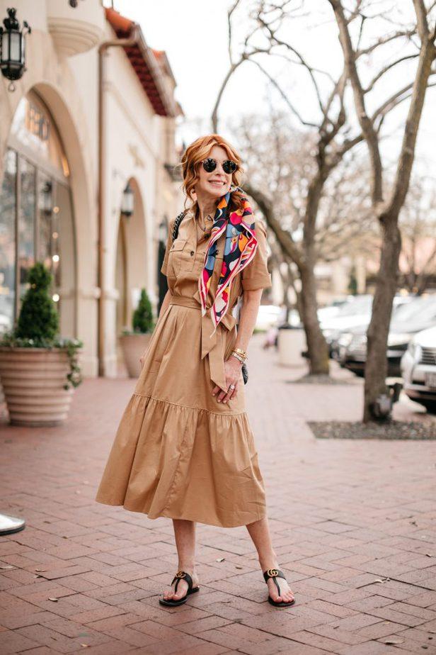 Red Head Blogger in Chico's Safari Style Dress