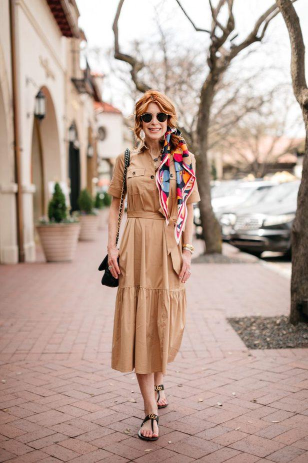 Dallas Blogger in Safari-Style Dress from Chico's