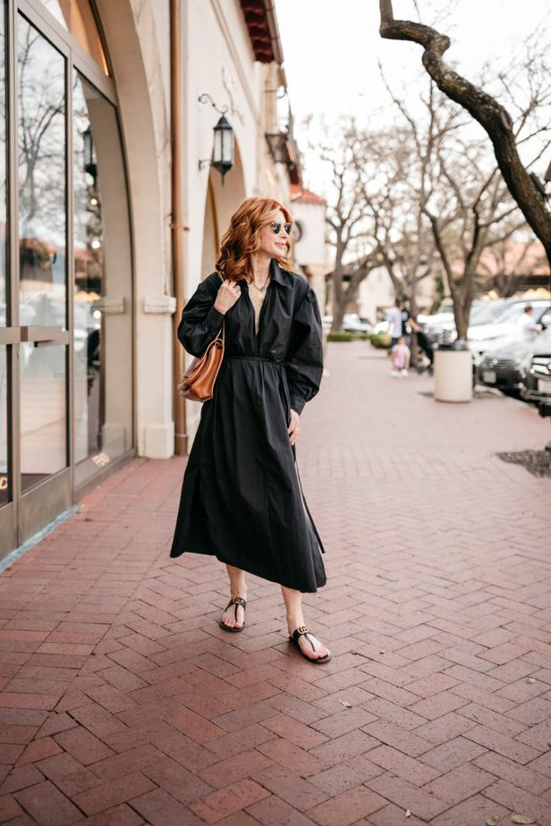 V Neck Long Sleeve Black Dress on Dallas Blogger | Great Designer Pieces From Nordstrom