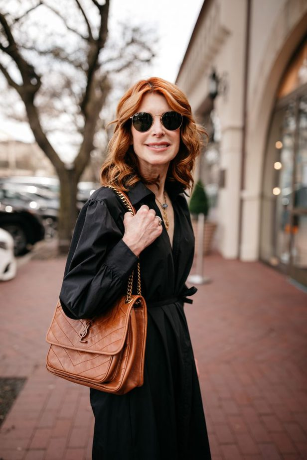 Caramel YSL Bag on Dallas Blogger