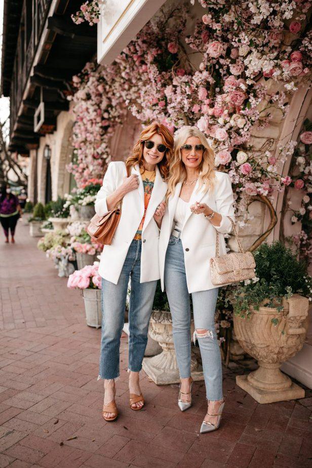 Dallas Blogger in White Faux Leather Blazer