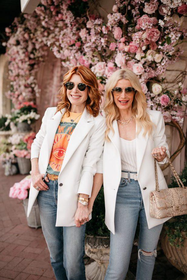 Faux Leather White Blazer on Dallas Bloggers