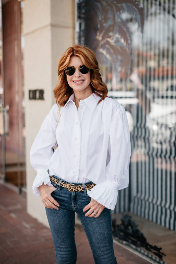 jeans and White Ruffle High/Low Shirt from Khaite on Dallas woman Blogger
