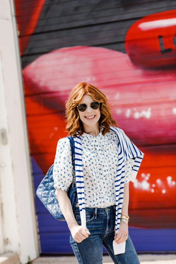 Rebecca Taylor Puffed Sleeve Floral Top on Dallas woman Blogger