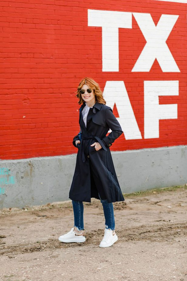 stylish trench coat in dark color