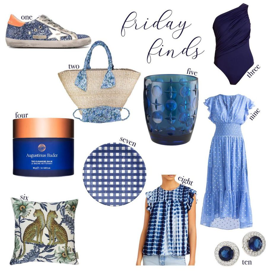 a collage of blue clothing and home items for FRIDAY FINDS