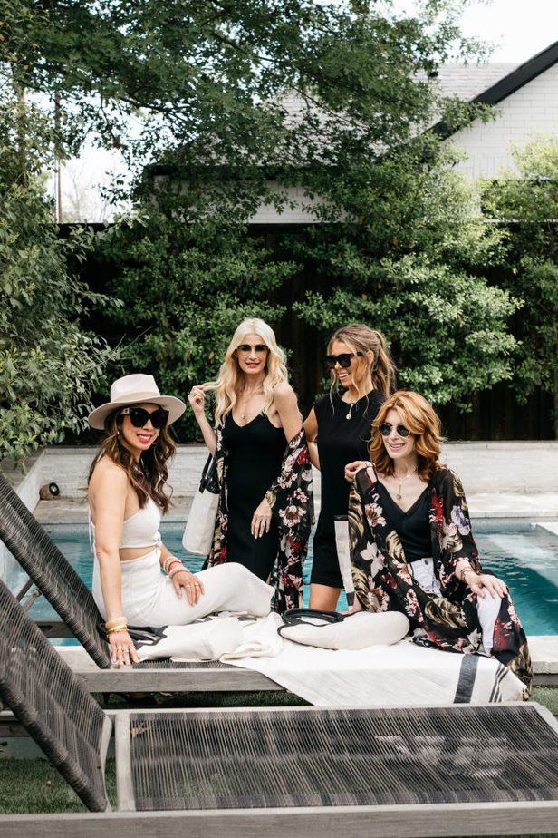 for women at the poolside for rachel zoe summer curater box event