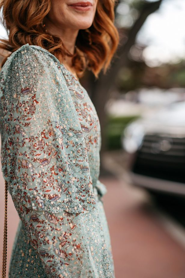 closeup of the sleeves of a dress