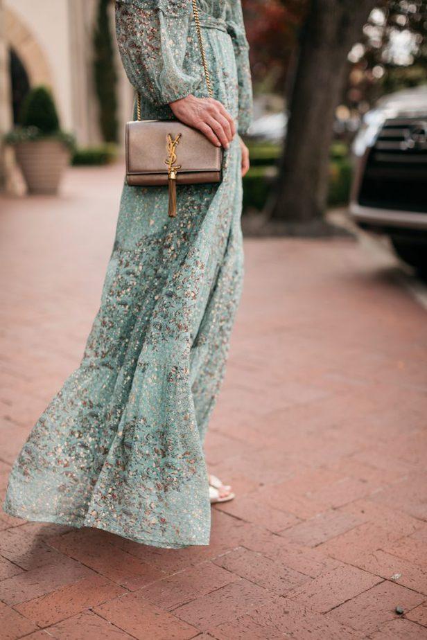 closeup image of details of a dress and a handbag