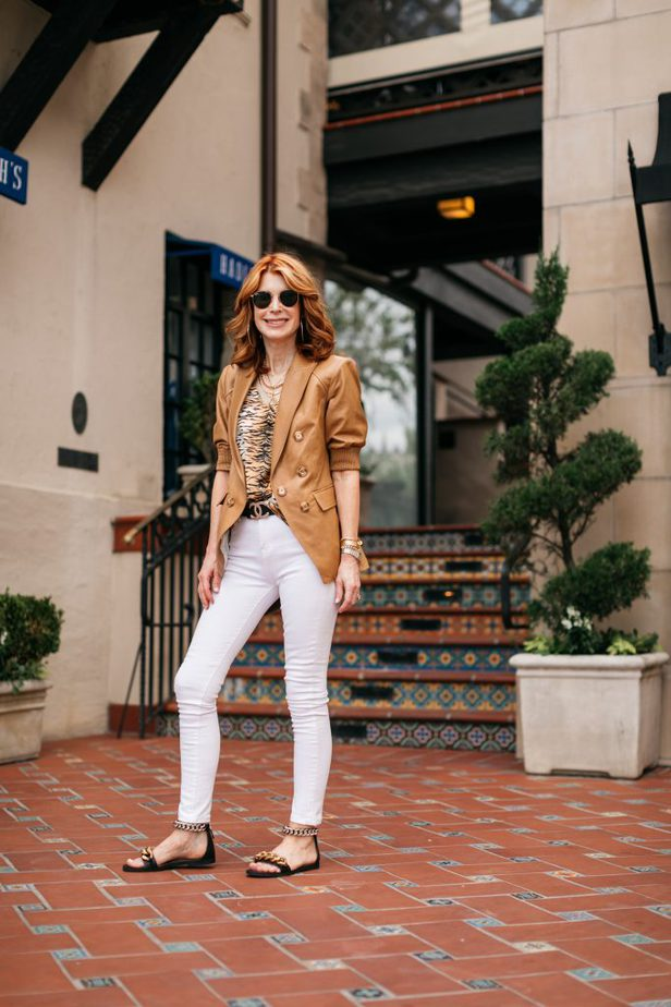 Leather blazer for the summer and white pants on Dallas Blogger