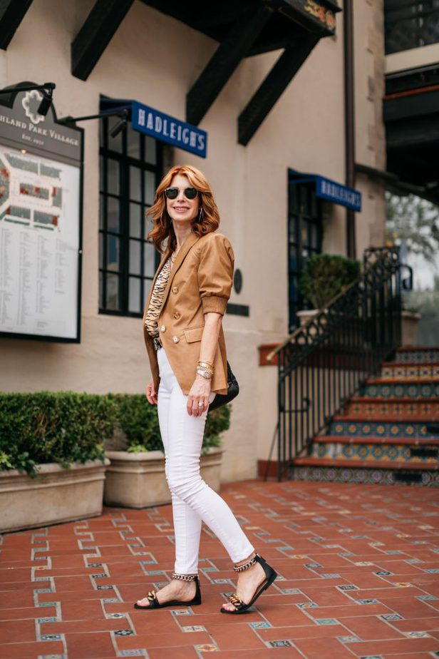 woman wearing LEATHER BLAZER FOR THE SUMMER and white pants