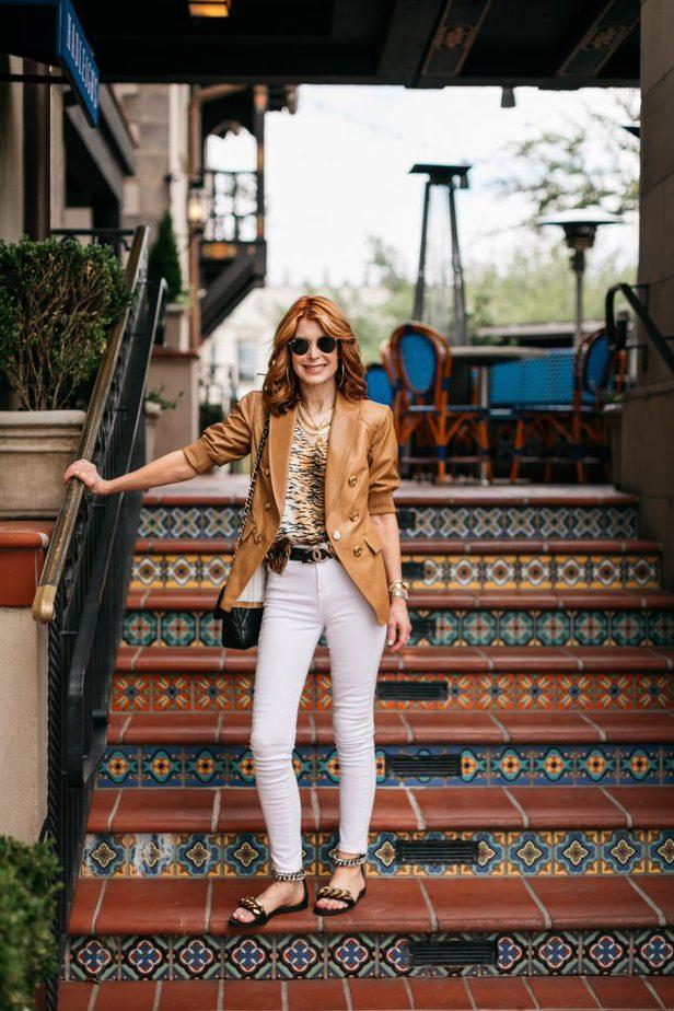 Dallas Blogger in Veronica Beard leather blazer and white jeans