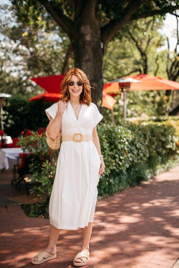 woman wearing White Dress to Signal Summer