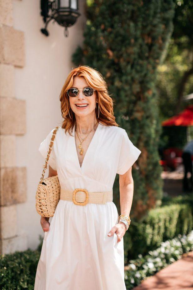 White Dress with Raffia Belt on Dallas female Blogger
