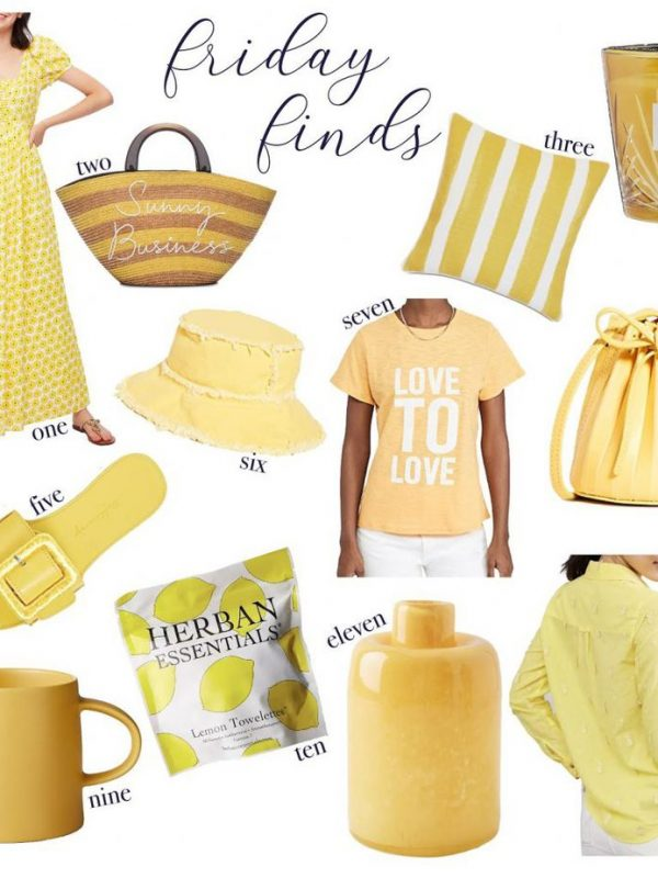 a collage of yellow clothes, bags, accessories, and household items for SUNNY SUMMER YELLOW