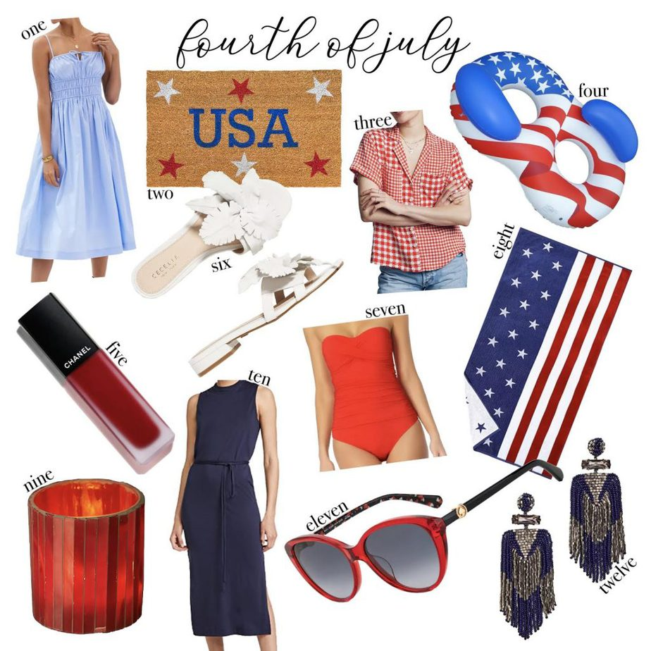 a collage of Fourth of July outfit inspiration