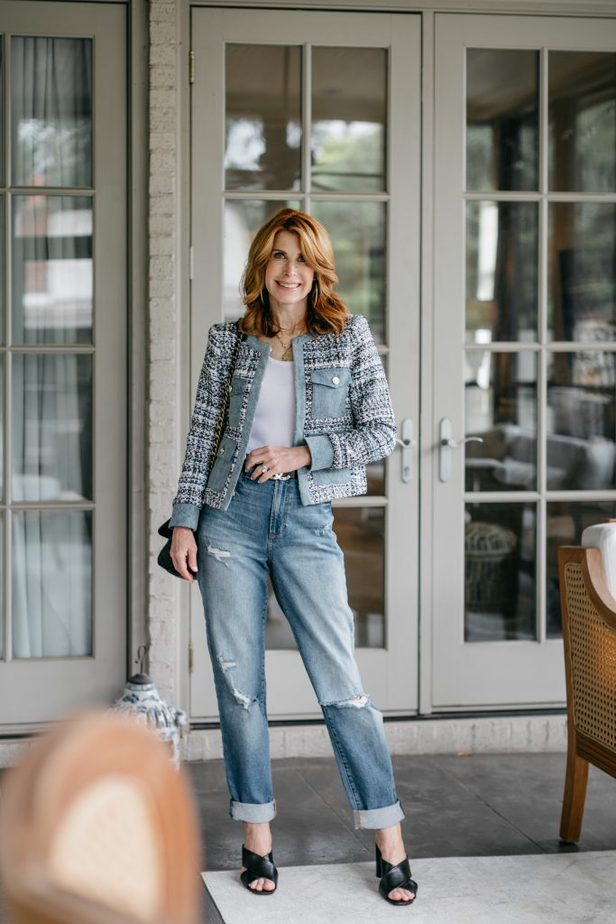 Dallas Blogger in Alice and Olivia Tweed and Denim Jacket for the Blues