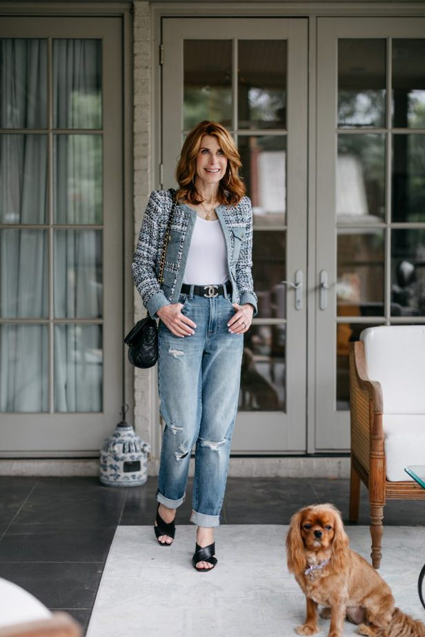 The blues woman wearing Alice and Olivia Tweed and Denim Jacket