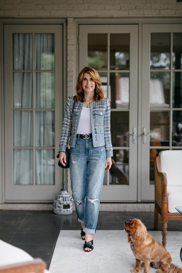 woman walking and wearing Alice and Olivia Tweed and Denim Jacket