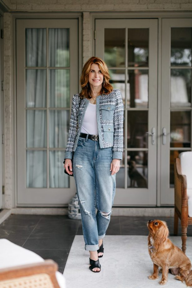 Alice and Olivia Tweed and Denim Jacket on Dallas Blogger