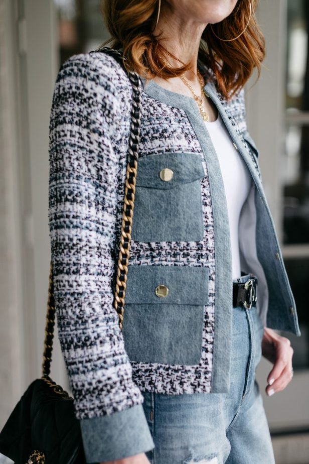 The Blues on Dallas Blogger with closeup on tweed jacket