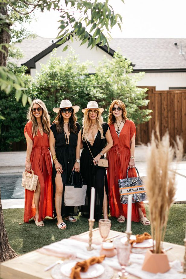 four women at the poolside wearing CHIC COVER-UP