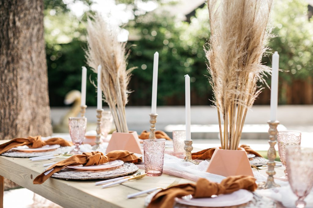 chic table setup with pink and nude color pallet