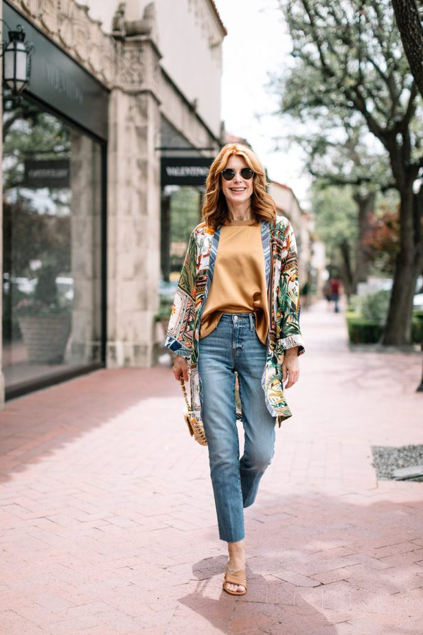 woman wearing jeans, flowy top, and MIXED SCARF-PRINT KIMONO
