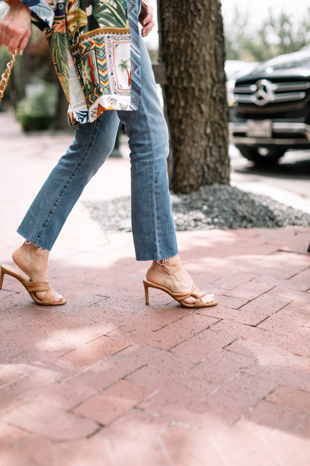 closeup of woman wearing jeans and heels