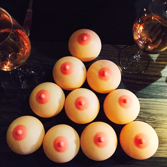 cupcakes shaped of breasts with nipples for celebrating Eight Year Cancerversary