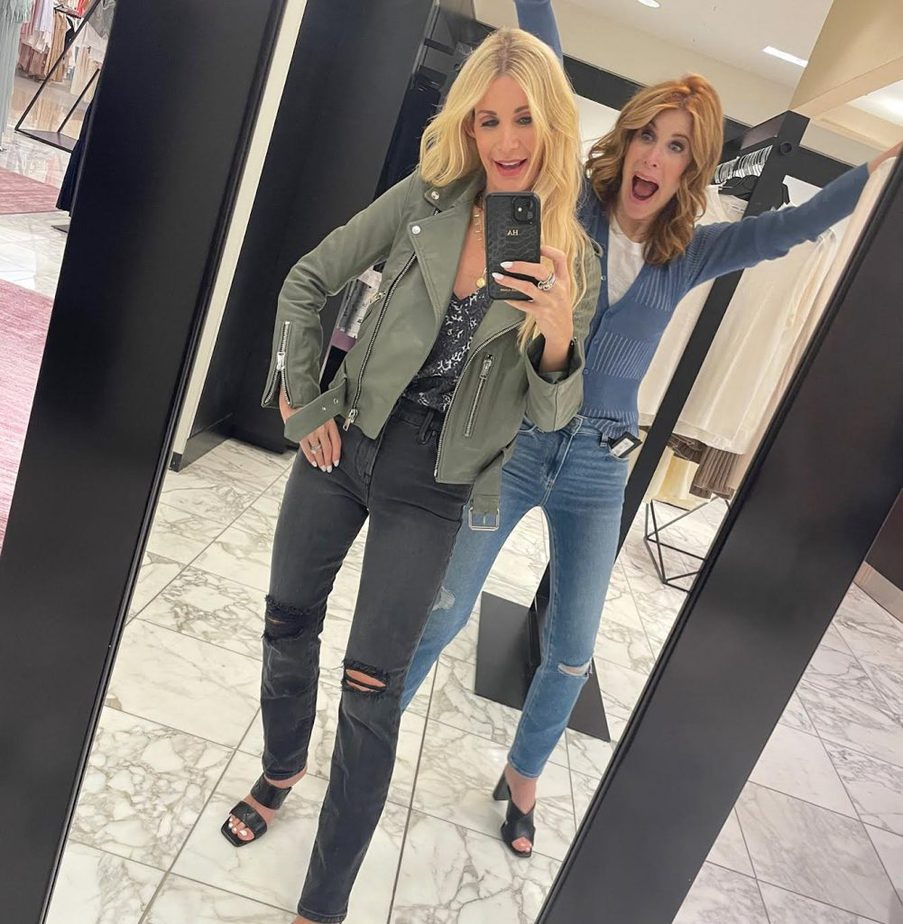 two women taking a selfie and wearing cardigans from the Nordstrom sale