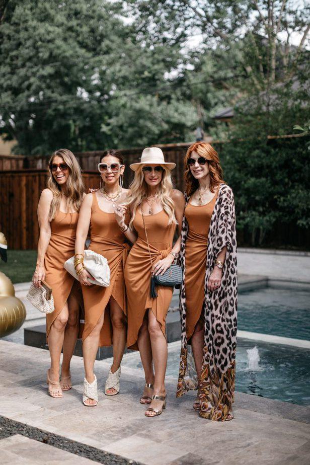 women wearing date night dress near the pool
