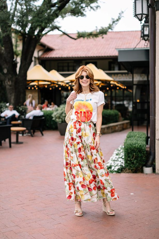 Dallas Blogger wearing Follow the Sun Farm Rio Tee and colorful skirt
