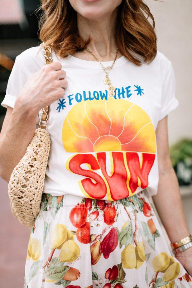 closeup of follow the sun tee