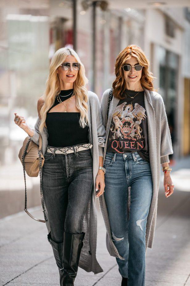two women walking the streets