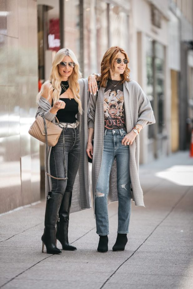 two women wearing cardigans from the Nordstrom sale