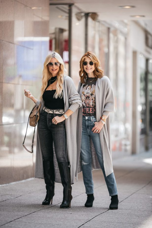 two women facing the camera and wearing cardigans from the Nordstrom sale