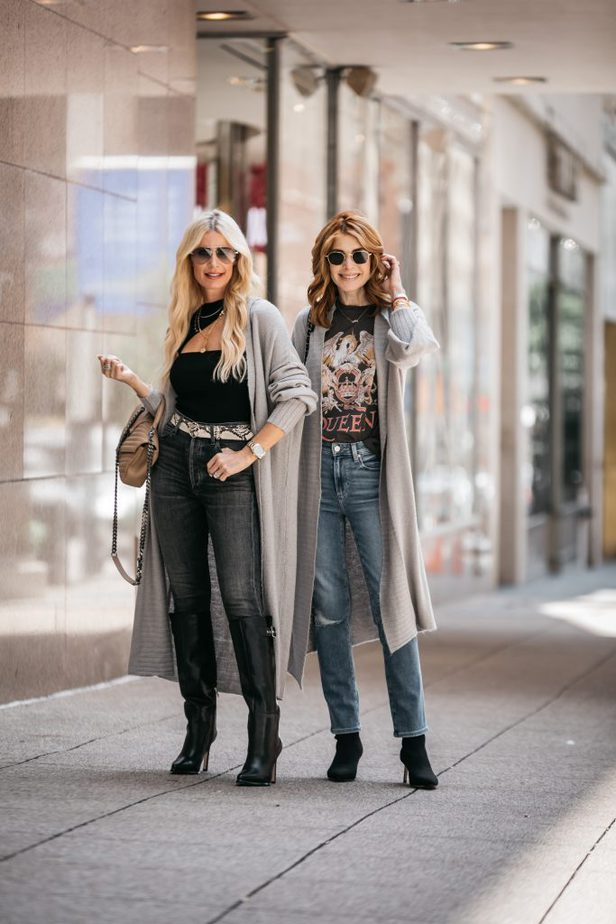 tow women wearing cardigan, shirt, and jeans