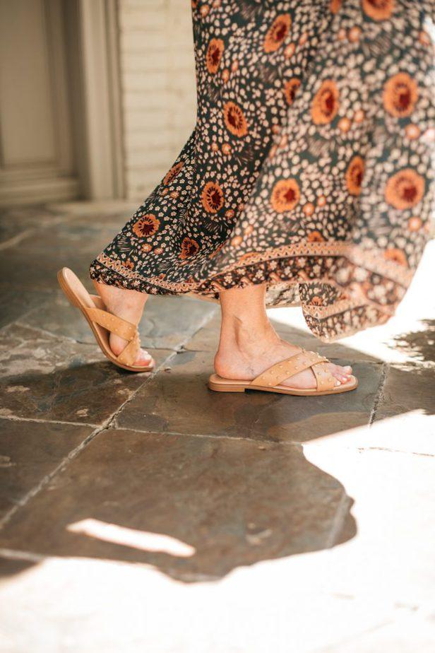 closeup of a woman's sandals a