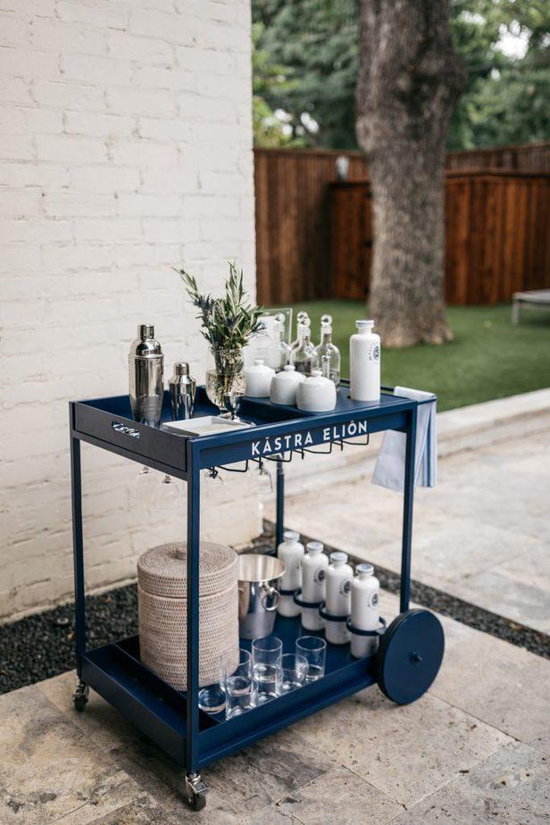 blue bar cart