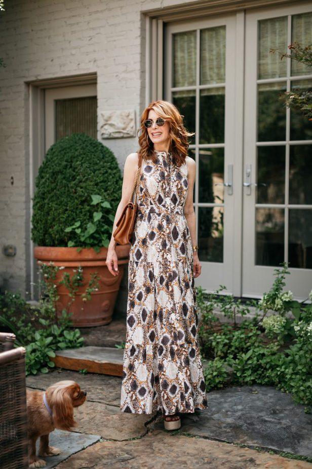 Dallas blogger in snake-print maxi dress
