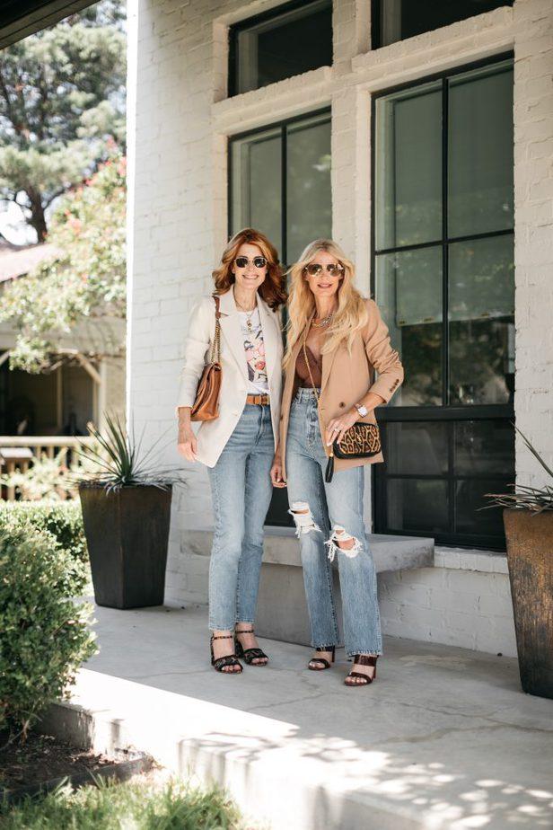 two women wearing boyfriend blazer and jeans