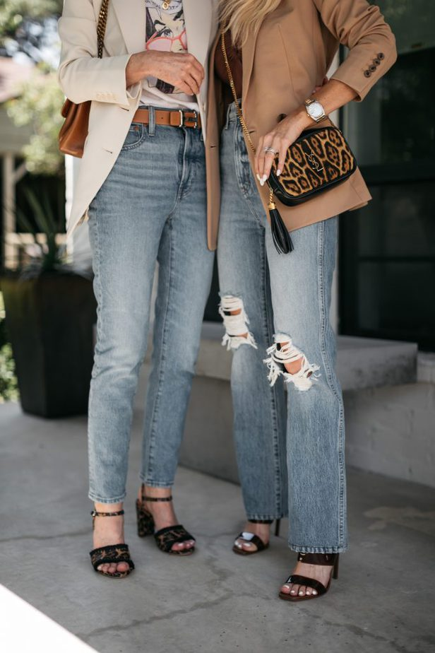 closeup of jeans two women are wearing