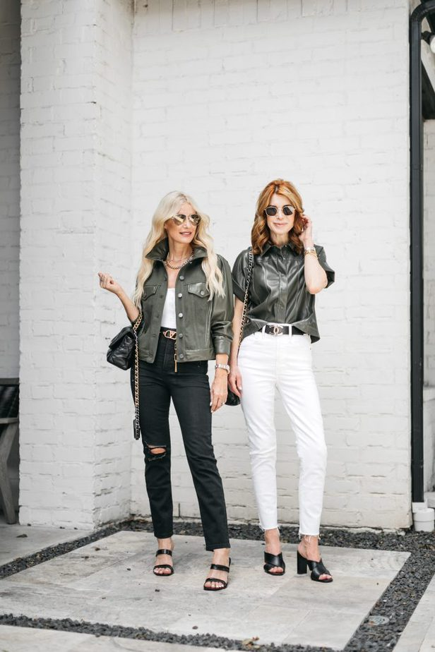 two women wearing Olive green tops and jeans