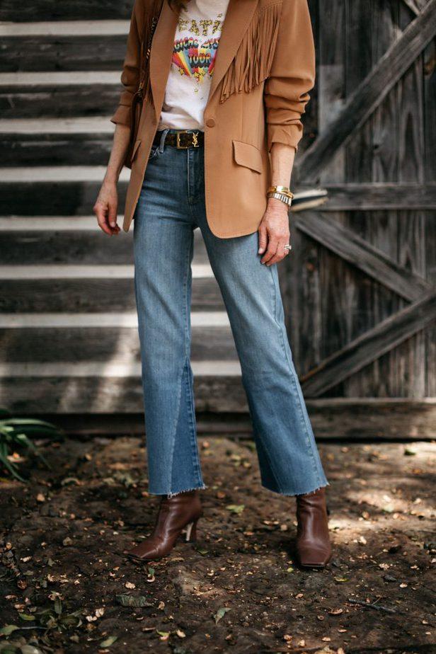 closeup of denim jeans worn by woman