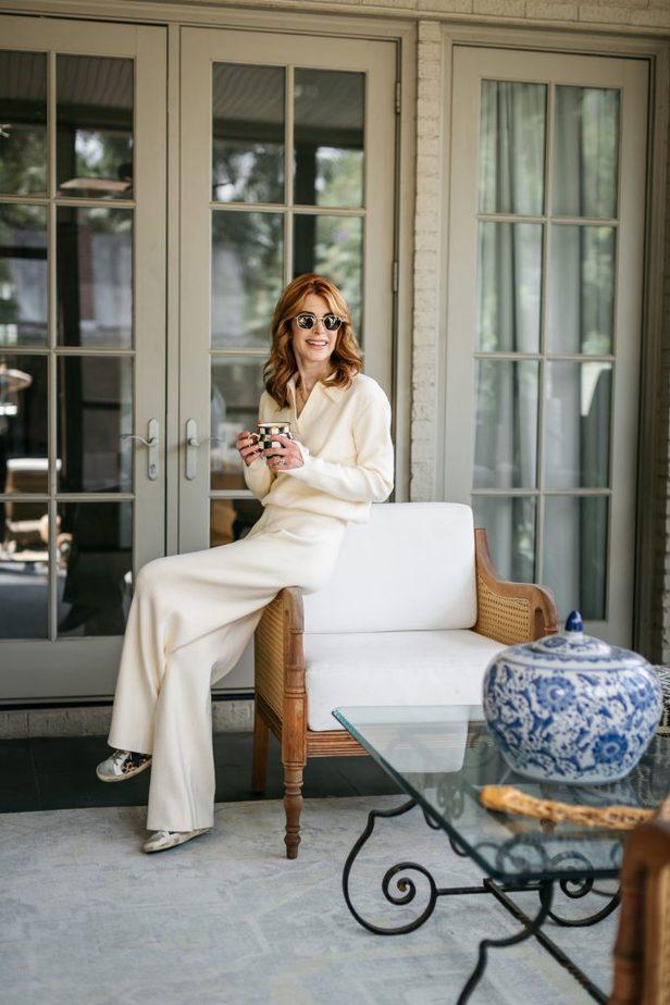 woman sitting and holding a mug