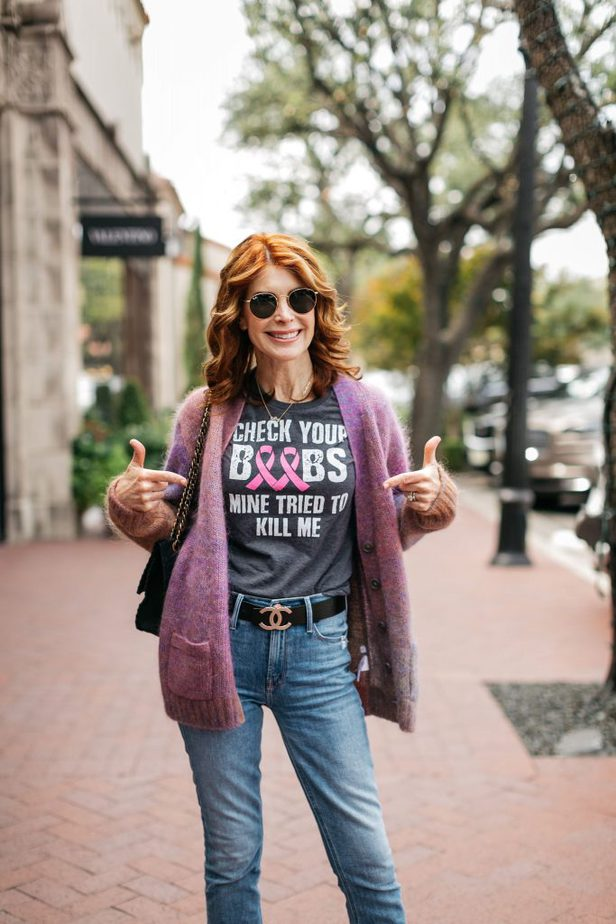 woman on breast cancer shirt