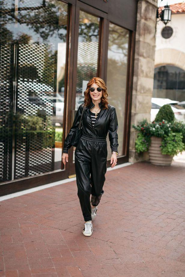 woman in jumpsuits walking