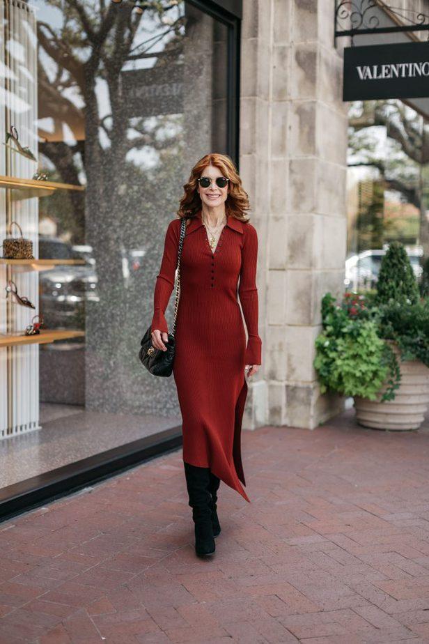 woman wearing RIBBED KNIT DRESS